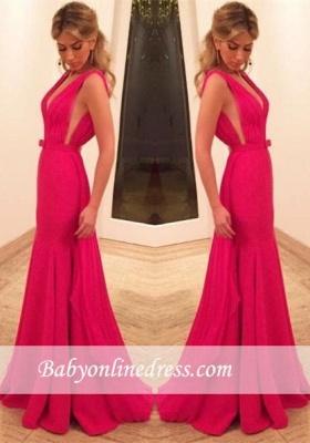 2018 Sexy Mermaid Red Sleeveless V-Neck Prom Dress with Bowknot_4