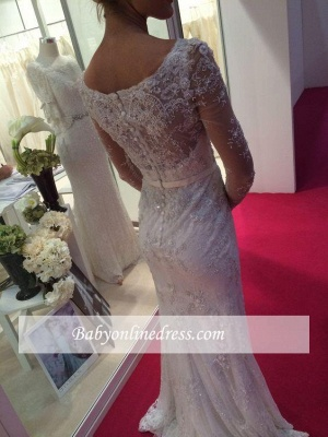 Elegant Long Sleeves Lace Crystal Appliques Mermaid Wedding Dress with Buttons_1