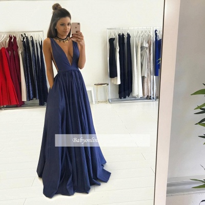Gorgeous Long V-Neck Prom Dress 2018 Sleeveless Floor-Length Evening Gown BA4950_2