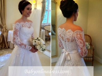 A-line Elegant Long-Sleeves Sweep Train Off-the-shoulder Sashes Wedding Dresses_1