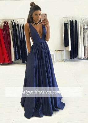 Gorgeous Long V-Neck Prom Dress 2018 Sleeveless Floor-Length Evening Gown BA4950_3