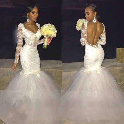 Sexy Mermaid Lace Long-Sleeve Backless Wedding Dress_3