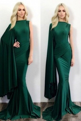 2018 Green Mermaid Evening Gowns One Shoulder Stylish Formal Evening Dresses_1