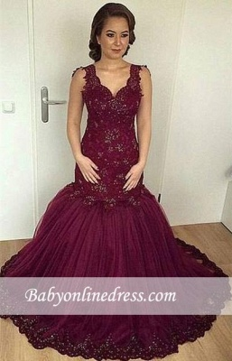 Burgundy Sheath Puffy V-neck Straps Lace Appliques Beaded Tulle Evening Gown_3