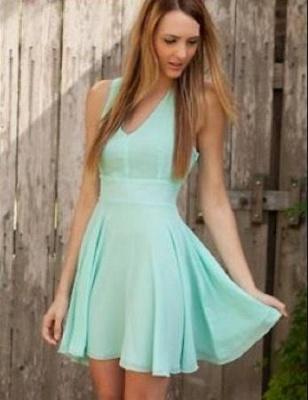 Sexy Cheap Chiffon Homecoming Dresses Cheap V-Neck Mini Party Gowns_1