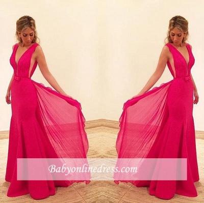 2018 Sexy Mermaid Red Sleeveless V-Neck Prom Dress with Bowknot_3