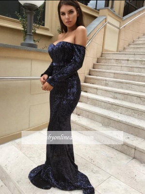 Navy Sleeve Modern Sequinned Long Blue Mermaid Prom Dresses_1
