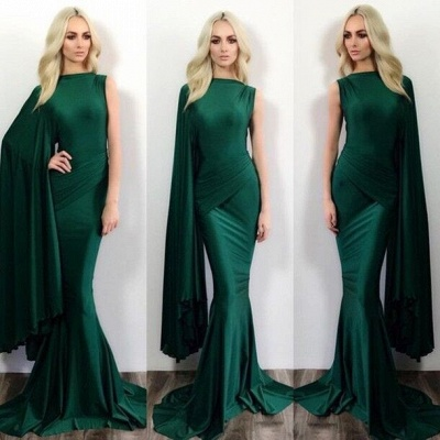 2018 Green Mermaid Evening Gowns One Shoulder Stylish Formal Evening Dresses_3