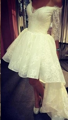 2018 Elegant Off-the-Shoulder Lace Prom Dress 3/4 Sleeves A-Line Hi-lo Evening Gowns_3