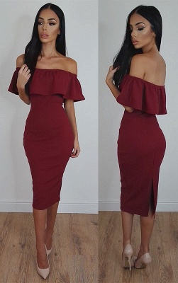 2018 Burgundy Bodycon Sexy Off-Shoulder Tea-Length Prom Dress_2