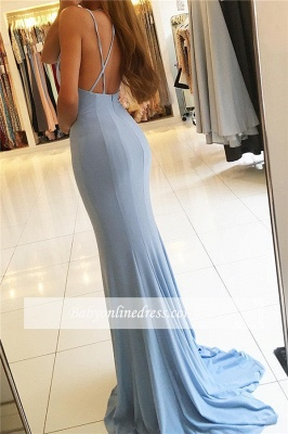 Gorgeous Spaghettis Straps Prom Dresses | Sleeveless Mermaid Slit Long Evening Gowns_1