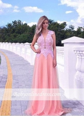 Appliques V-neck A-line Prom Dress Sleeveless Tulle Sweep-train Evening Gowns_1