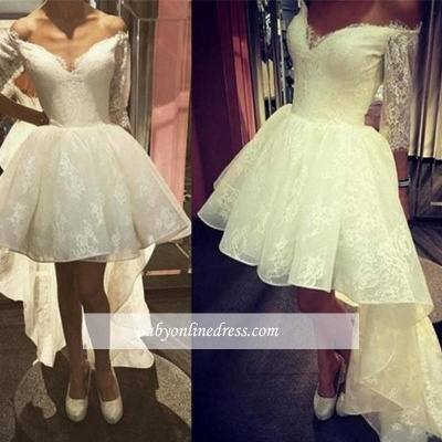 2018 Elegant Off-the-Shoulder Lace Prom Dress 3/4 Sleeves A-Line Hi-lo Evening Gowns_1