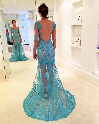 2018 Delicate Lace Sweep Strap Long-Sleeve Mermaid V-neck Prom Dress_2