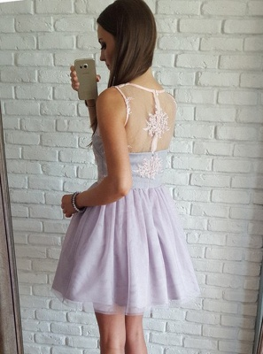 Elegant A-Line Tulle Homecoming Dresses | V-Neck Sleeveless Lace Applique Short Cocktail Dresses_3