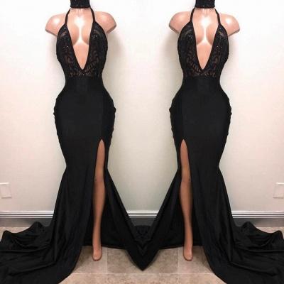 Sexy Black Slit Prom Dresses | Halter V-Neck Evening Gowns_3