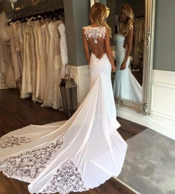 Appliques Mermaid Wedding Dresses with Chapel Train | Sleeveless Trumpet Bridal Gowns_3
