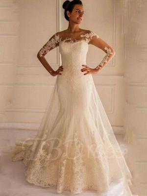 Ivory Layers Mermaid Wedding Dresses_1