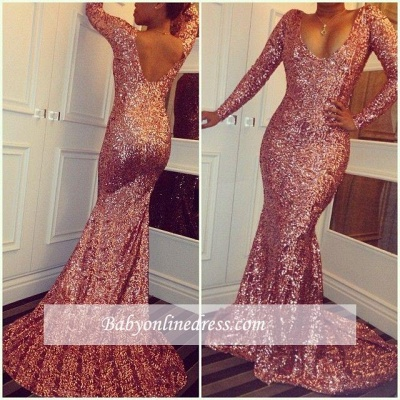 Sexy Long-Sleeves Simple Mermaid Sequined Prom Dresses_1