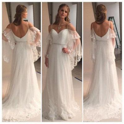 Summer Beach Wedding Dresses Spaghettis Straps Off the Shoulder Boho A-line Bridal Gowns_3