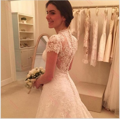 New Arrival Short Sleeve Wedding Dress Sweep-Train Lace Zipper A-line Bridal Gowns_3