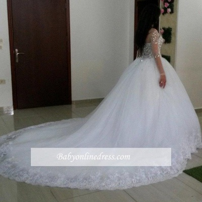 Glamorous Long Sleeves Ball Wedding Dresses Tulle Appliques Crytal Bridal Gowns_1