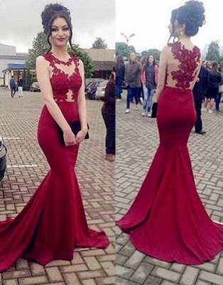 Sexy Burgundy Lace Mermaid Jewel Sleeveless Formal Dress_1