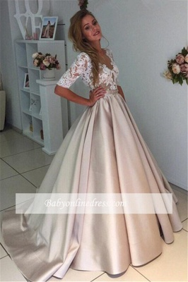 Half-Sleeves A-Line Gorgeous Puff Illusion Appliques Lace Wedding Dresses_1