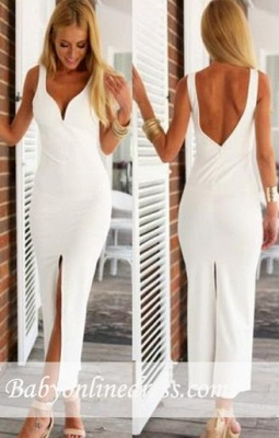 Open-Back Sheath Natural Spaghetti-Strap White Sexy Evening Dresses_3