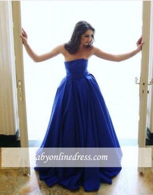 Long Blue Sleeveless Strapless Elegant A-line Simple Evening Dress_1