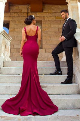 Sexy Mermaid Straps Burgundy Bridesmaid Dresses Split Backless Court Train_4