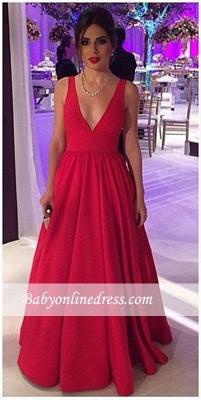 V-neck New Red Long Sleeveless Elegant Cheap Open-Back Evening Dresses BA4857_3