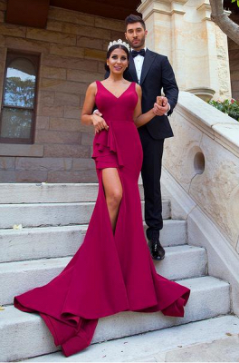 Sexy Mermaid Straps Burgundy Bridesmaid Dresses Split Backless Court Train_1