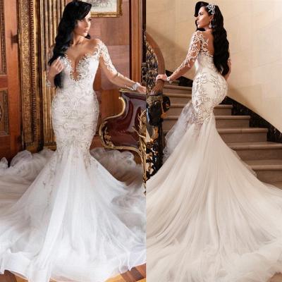Jewel Long Sleeves Mermaid Sexy Lace Wedding Dresses_2