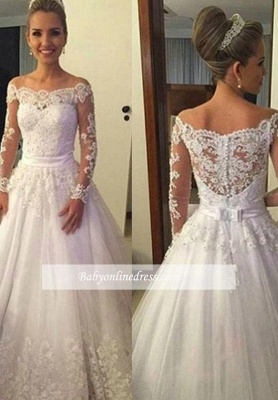 Long-Sleeves Off-the-shoulder Sweep Train A-line Lace Bow Wedding Dresses_1