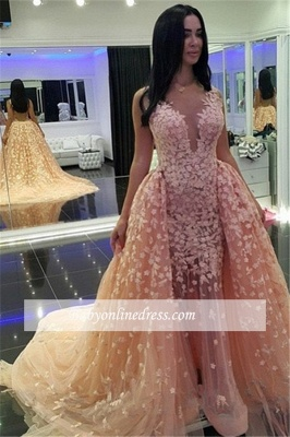 Mermaid Pink Puffy Dubai-Muslim Sexy Detachable-Train Evening Dresses_3