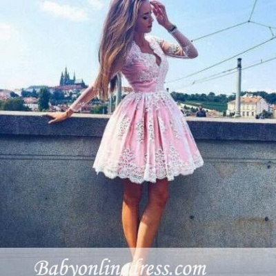 Pink Short Lace Homecoming Dresses Deep-V-Neck Long-Sleeves Party Dress_1