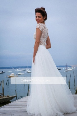 Short-Sleeves A-line V-neck Modern Tulle Simple Wedding Dresses_1