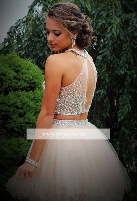 Open-Back Crystals Champagne Discount Two-Piece Organza Short Halter Mini Homecoming Dresses_3