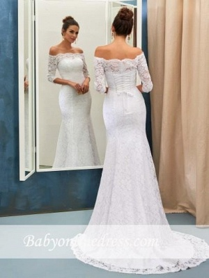 Lace-up Sweep Train Simple Half-sleeves Sheath-Column Off-the-shoulder Wedding Dresses_1