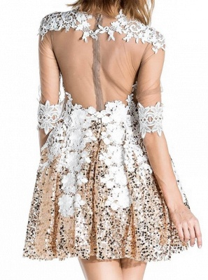 Shiny A-Line Sequins Homecoming Dresses   Scoop Half-Sleeves Lace Cocktail Dresses_3