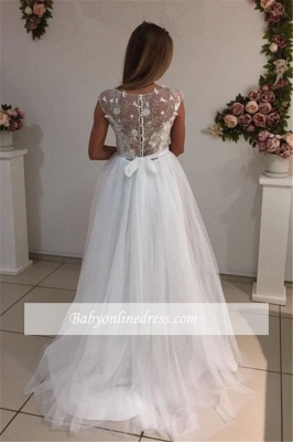 Cap Sleeves A-Line Tulle Gorgeous Appliques White Wedding Dresses_1