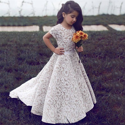 Gorgeous Floor Length Short Sleeves Lace Pageant Dress Flower Girl Dresses_3