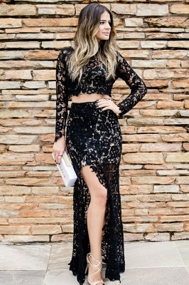 Two Piece Long Sleeves Jewel Side Slit Black Lace Prom Dresses | Modern Party Dresses_1