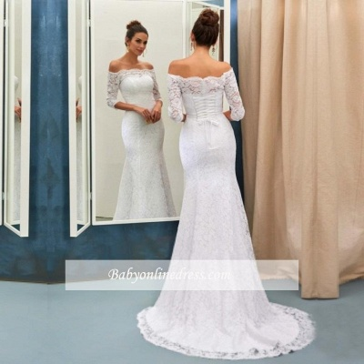 Lace-up Sweep Train Simple Half-sleeves Sheath-Column Off-the-shoulder Wedding Dresses_3