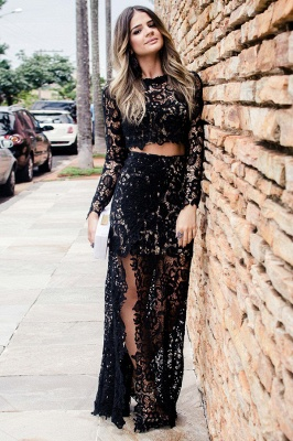 Two Piece Long Sleeves Jewel Side Slit Black Lace Prom Dresses | Modern Party Dresses_2