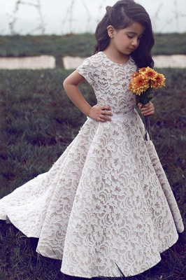 Gorgeous Floor Length Short Sleeves Lace Pageant Dress Flower Girl Dresses_1