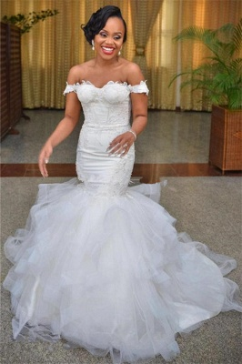 Modest Tulle Off-the-shoulder Short-Sleeve Lace-up Mermaid Lace Wedding Dress_2