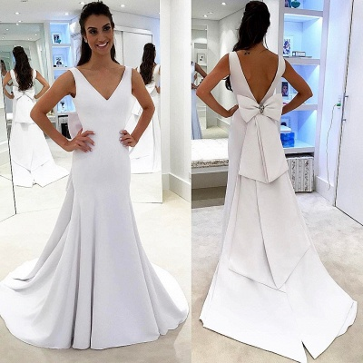 A-line Chic Backless White Simple Sashea V-neck Wedding Dress_3