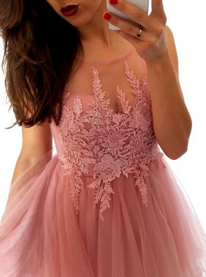 Sexy A-Line Organza Homecoming Dresses | Scoop Sleeveless Lace Cocktail Dresses_4